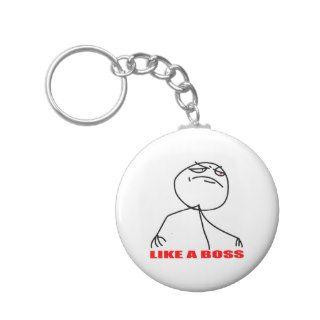 Like a boss meme face keychain