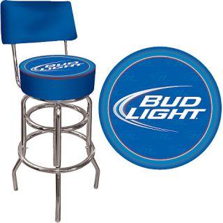 trademark global bud light blue padded bar stool with back ab1100 bl. Black Bedroom Furniture Sets. Home Design Ideas