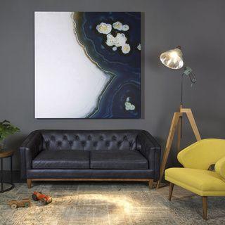 Natty Black Button tufted Leather Sofa