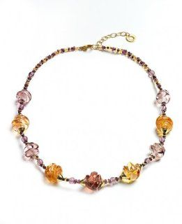 Venezia Collection Glamorous Necklace Adorned with Light Purple and Light Brown Murano Glass by Antica Murrina; Handmade in Italy Antica Murrina Jewelry