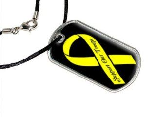 Support Our Troops Yellow Ribbon   Military Dog Tag Black Cord: Automotive