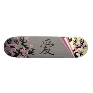 Love Birds On Sakura Tree And Chinese Love Symbol Skate Boards