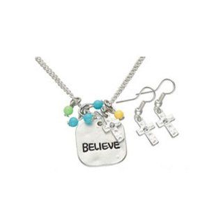 Inspirational Believe Charm Necklace & Earring Set   Silver Tone   Inspire Belief Fashion Jewelry Set (Cross Charm)   Pendant Necklaces