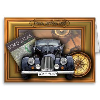Vintage 3D Car   Happy Birthday Dad Greeting Card