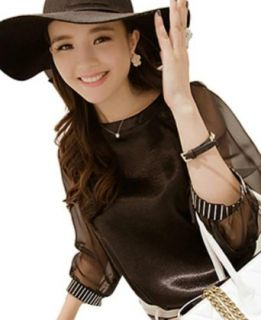 Autumn Lady's Coat Black Nine Minutes Of Sleeve Chiffon Shirt Fashion T Shirts