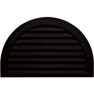 Builders Edge 22 in. x 34 in. Half Round Gable Vent #002 Black 120023422002