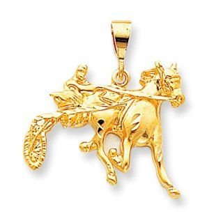 10K Yellow Gold Sulky Horse Racing Charm Race Jewelry: Jewelry