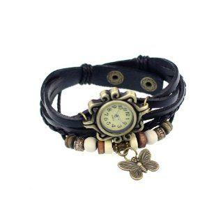 amJimshop Fashion Accessories Trial Order New Quartz Fashion Weave Wrap Around Pu Leather Bracelet Lady Woman Wrist Watch Black: AI: Watches