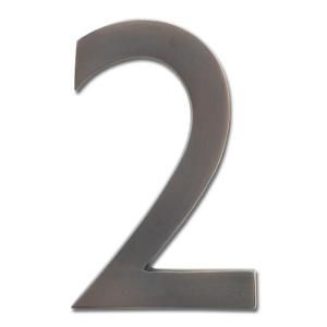 Architectural Mailboxes 4 in. Cast Brass Dark Aged Copper Floating House Number 2 3582DC 2