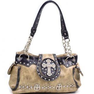 Women's Western Cross and Rhinestone Studded Shoulder Bag with Croco TrimAU CRS576 BRtan Clothing