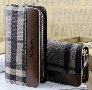 Big Mango Multi purpose Fashion Beautiful Long Business Gentleman Style Mens Big Grid Print Cellphone PU Leather Purse Bag and Clutch Two Zipper Wallet with Inner Multiple Card Holders and Telescopic Handle for Apple Iphone 4 4s Iphone 5 Iphone 5s 5c Samsu