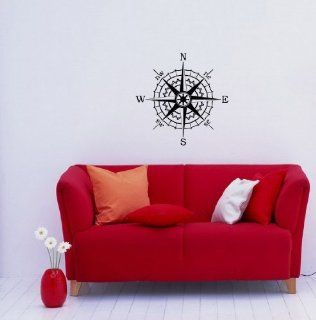 Housewares Modern Wall Vinyl Decal Compass Rose Nautical Art Design Murals Interior Decor Sticker Removable Room Window (SV2502)   Supervinyldecal Compass