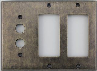 Aged Antique Brass Three Gang Combination Switch Plate   One Push Button Light Switch Opening Two GFI/Decora Openings