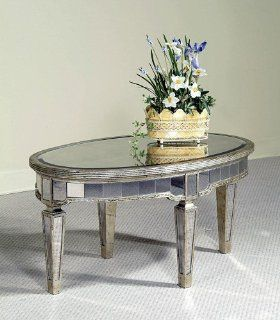 Bassett Mirror Borghese Mirrored Oval Cocktail Table in Silver   Coffee Tables