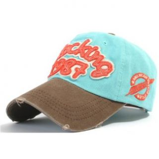 ililily Distressed Vintage Style Two tone 1987 Baseball Cap Pre curved Bill and Embroidery on Front and Side with Adjustable Leather Strap Snapback Trucker Hat (ballcap 594 7) at  Men�s Clothing store