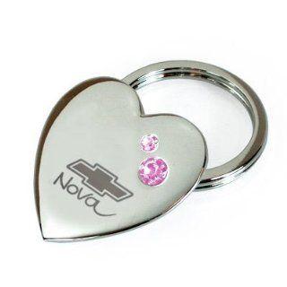Nova Bowtie Chevrolet Pink Crystal Heart Metal Key Chain Automotive