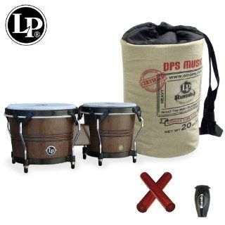 Latin Percussion LP Rumba Bongo (LP608 MOCHA) with LP Rumba Shaker, Claves & LP Rumba Bongo Bag: Musical Instruments