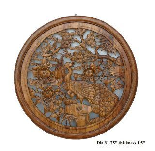 Chinese Wood Carved Round Peacock Wall Decor Ass446   Wall Sculptures