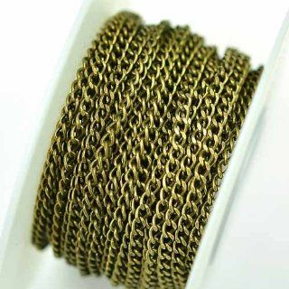 Antique Brass Chain _#71: 2.2x3.2mm Petite Filed Curb Chain (per 25 foot Spool)