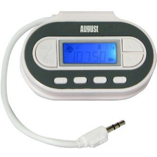 August WT601N   FM Transmitter   In Car Audio Sender and Charger / 3.5mm Audio In   Compatible with  Players / Mobile Phones / Apple Devices   Powered by USB / Battery (2xAAA not inc.) / Cigarette Lighter Socket   Players & Accessories
