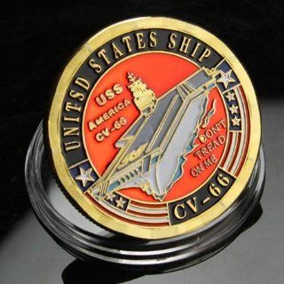 NAVY USS America CV 66 Gold plated Challenge Coin 628