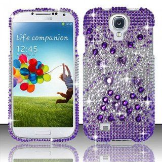 CELL PHONE CASE COVER BLING FOR SAMSUNG GALAXY S4   PURPLE & SILVER + LCD GUARD [In CellCostumes Retail Packaging]