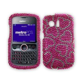 Hot Pink With Hearts Protector Skin Cover (Faceplate/Snap On) Full Rhinestones Diamond Bling for For Huawei Pinnacle M635 (Metropcs), Huawei M615 Pillar