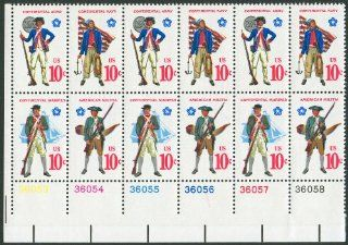 EARLY AMERICAN MILITARY UNIFORMS ~ CONTINENTAL MARINES ~ AMERICAN MILITIA ~ CONTINENTAL ARMY ~ CONTINENTAL NAVY #1568a Plate Block of 12 x 10� US Postage Stamps