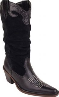 Bearpaw Womens Suede/Leather Cowgirl Boot   Style 636 Dakota (6, Black): Shoes