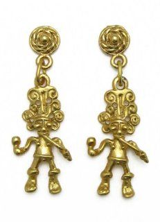 Pre Columbian Costa Rica 24k Gold Plated Musician with Flute and Maracas Earrings: Stud Earrings: Jewelry