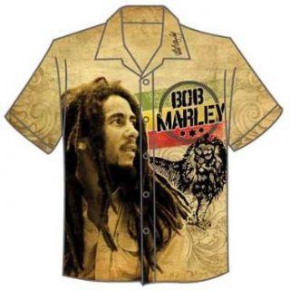 Bob Marley   Vintage Bob & Lion Club Shirt Mens Club Shirt in Tan, Size XX Large, Color Tan Clothing