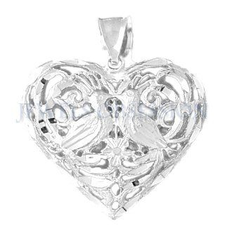 Rhodium Plated 925 Sterling Silver 3 D Filigree Heart Pendant: Jewels Obsession: Jewelry