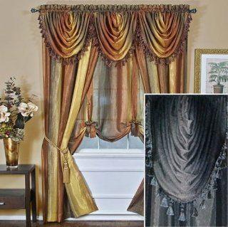 "63"" Long Black Ombre Stripe Semi Sheer Curtain Panel   Window Treatment Valances"