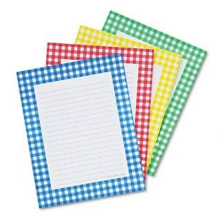 Carson Dellosa Publishing Notepad Set, Gingham Border, Ruled, 4 x 6, WE, Four 50 Sheet Sets : Memo Paper Pads : Office Products