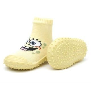 Skidders Nickelodeon Spongebob Squarepants Yellow Kids Slip Resistant Indoor/Outdoor Slip On Hybrid Shoes with Socks: First Walkers Shoes: Shoes