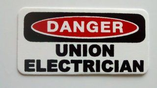 "3   Danger Union Electrician Hard Hat / Helmet Stickers 1"" x 2"" Automotive"