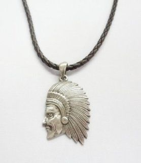 1x Collectible Native American Indian Head Pewter Pendant W Leather Necklace  Other Products