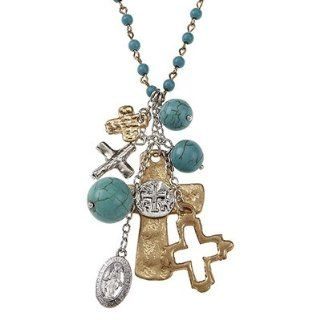 Catholic & Religious Saints Bracelet. St. Mary Miraculous Medal Necklace. Artisan Cross Charm Cluster Necklace on Linked Turquoise Beads •Features * Worn Gold/worn Silver Plating * 4mm Linked Turquoise Bead Necklace * Cross/religious Relics Cha