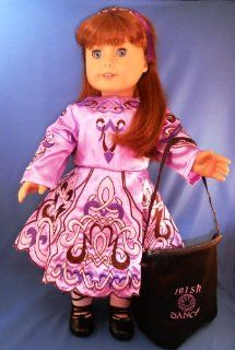 "Irish Dance Costume Complete Set in Lavender. Leather Ghillies and Dance Socks Included. Fits 18"" Dolls like American Girl�: Toys & Games"