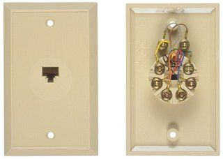 Allen Tel Products AT697B NK Single Gang, 1 Port, 8 Position, 8 Conductor, Non Keyed Flush Mount Wall Outlet Jack, Plastic, Ivory