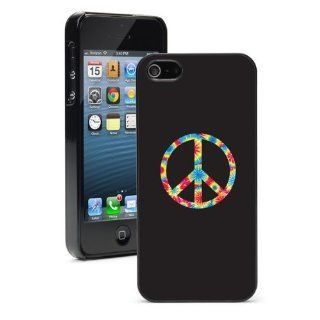 Apple iPhone 5 5S Black 5B674 Hard Back Case Cover Color Tye Dyed Peace Sign Symbol: Cell Phones & Accessories