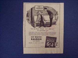 Sir Walter Raleigh pipe tobacco, buy war stamps and bonds.40's Print Ad, vintage Magazine Print Art