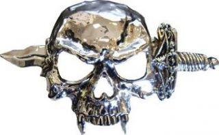 Mens KNIFE THROUGH SKULL Punk Rock Metal Belt Buckle Clothing
