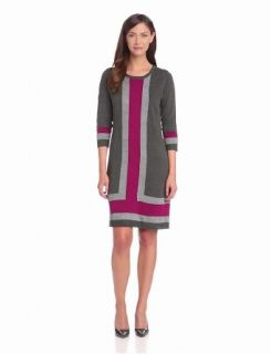 NY Collection Women's 3/4 Sleeve Crew Neck Colorblock Dress, McKayla, Large at  Women�s Clothing store