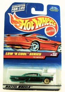 Hot Wheels   1998 Low 'N Cool Series   1959 Impala   Green Custom Paint   #2 of 4   Rare Red Card   Die Cast   Collector #698   Limited Edition   Collectible 1:64 Scale: Toys & Games
