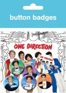 One Direction / 1D   Merchandise   6 Piece Button / Pin / Badge Set (The Boys) Clothing