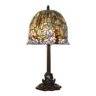 Tiffany Lotus Flower Lamp 705 Cut Glass Pieces Bronze Base   Table Lamps