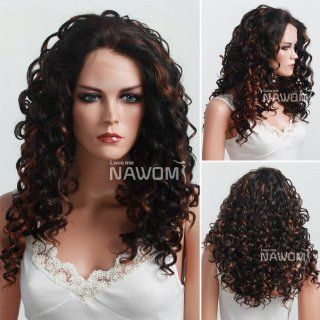 Wigiss High Quality New Women & Girls Long Full Curly Wavy Wig Fashion Lace Front Wigs for Women Sexy Ladies Wig Black+Copper Red  Hair Replacement Wigs  Beauty