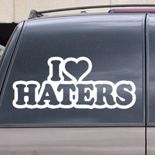 "I Love Haters Vinyl Decal Sticker 6"" White Car Truck Laptop Window Heart: Everything Else"