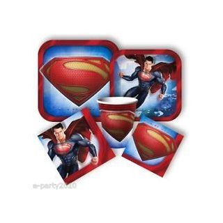 Superman Party Kit for 8 Guests Includes (Tattoos, Treat Bags, Table Cover, Birthday Banner , Napkins , Cups& Desert Plates): Toys & Games